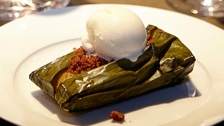Pumpkin Spice Tamal Topped with Allspice Ice Cream By Enrique Olvera