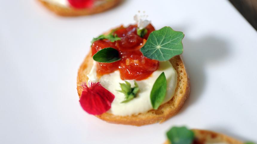 Tomato Jam, Sheepsmilk Cheese and Herbs