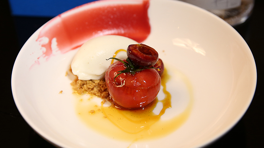 Tomato with Raspberries and Vanilla of Papantla Ice Cream By Matteo Salas