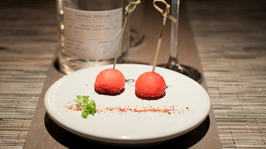 Watermelon Balls with Chili Flakes By Remi van Peteghem