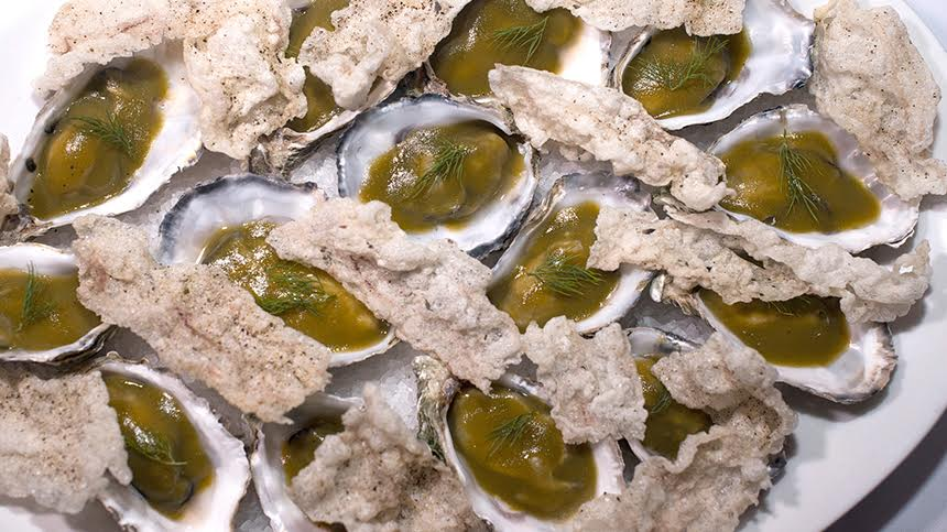 Oysters in Cornichon Jelly with Tendon and Herb Cream By David Kinch of and Carlo Mirarchi