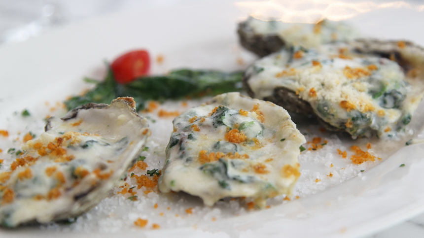 oysters tuscan style paired with tequila drink