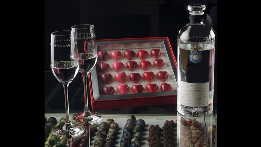 Assorted chocolates paired with Tequila Casa Dragones