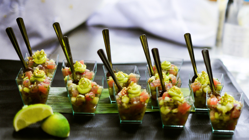 Shrimp Ceviche with avocado mousse paired with Tequila Casa Dragones