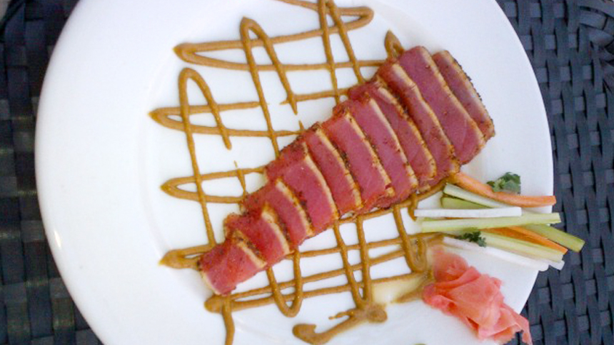 Wasabi Seared Tuna paired with tequila drink