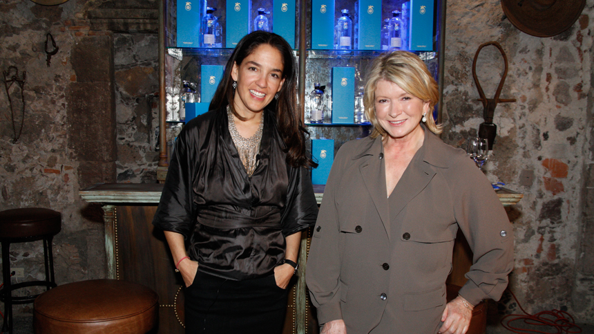 Martha Stewart and Bertha Gonzáles Nieves at Hotel Matilda Opening Casa Dragones Tequila