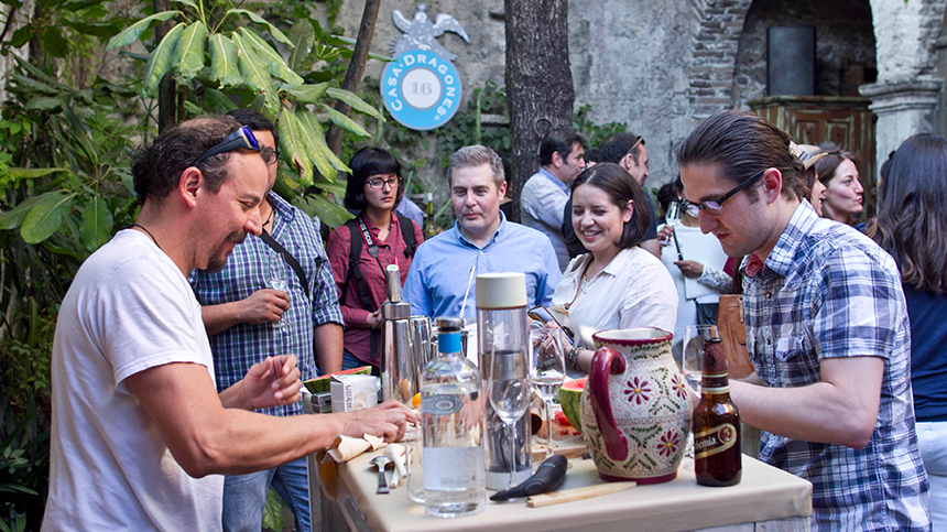 serving tequila at party