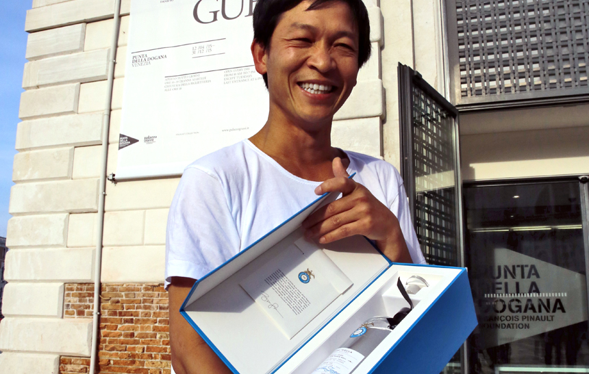 Danh Vo with his Tequila Casa Dragones Limited Edition Bottle