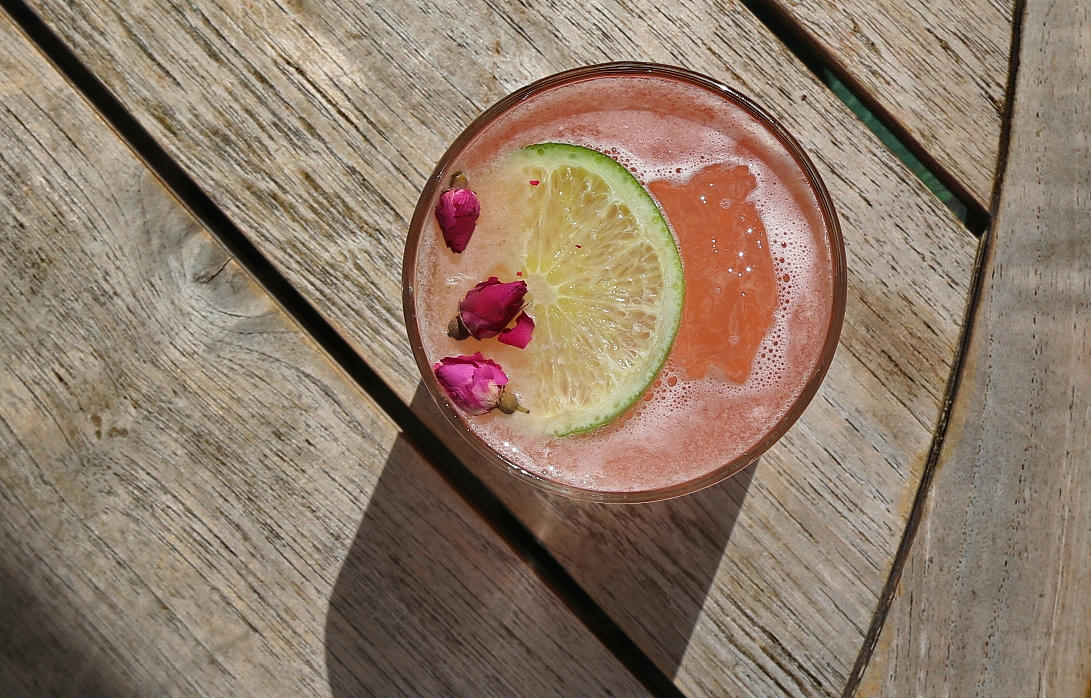 refreshing tequila cocktail with flowers