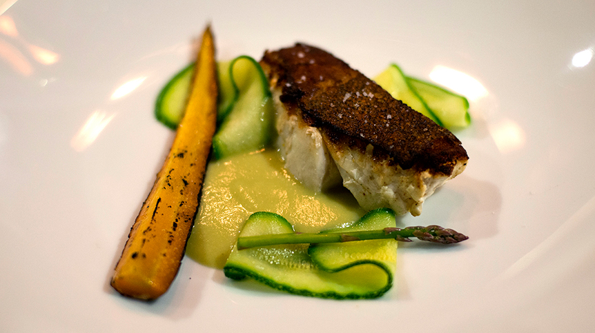 Sea Catch with Ginger-Squash, Tomatillo, and Carrots By Aperi