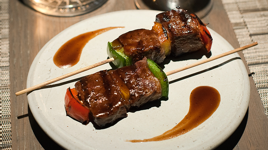 Beef Striploin Skewers with Grilled Bell Pepper and Spicy Jus By Clement Restaurant