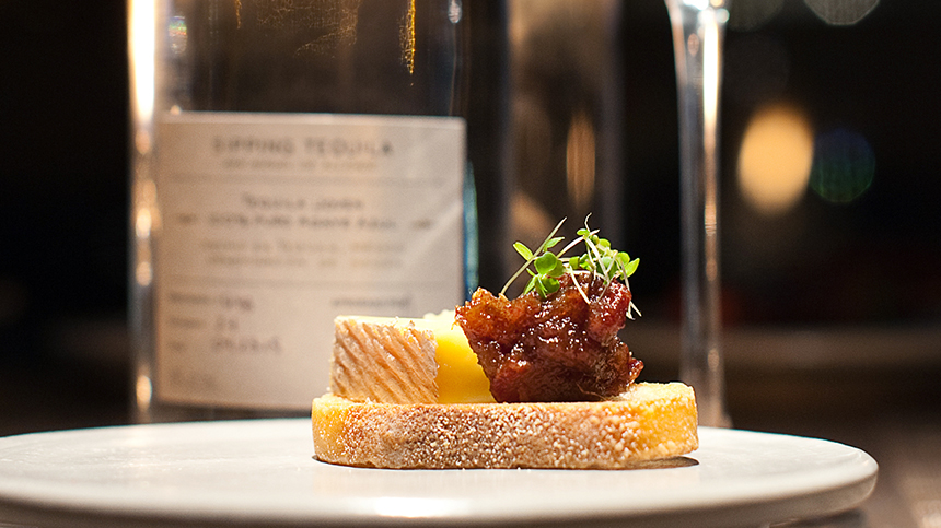 Vulto Cremery Ouleout on Crostini with Prune Compote By Remi van Peteghem