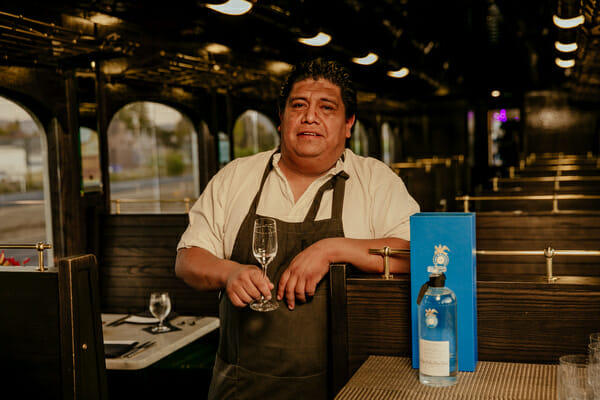 (Above) Chef Luis Arellano of Oaxaca restaurant Criollo aboard the Napa Valley Wine Train.