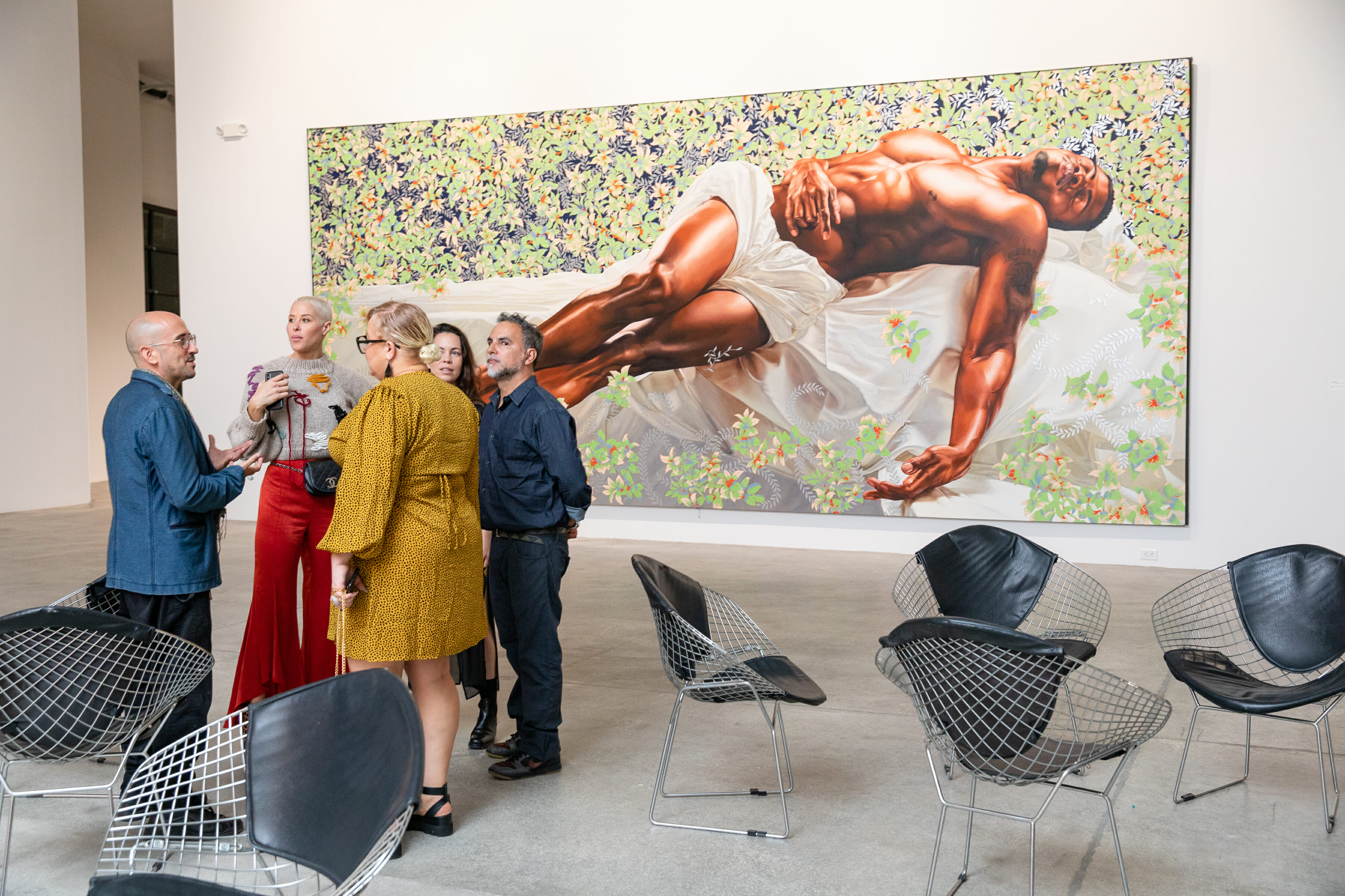 Artists discussing in gallery in art basel 2019