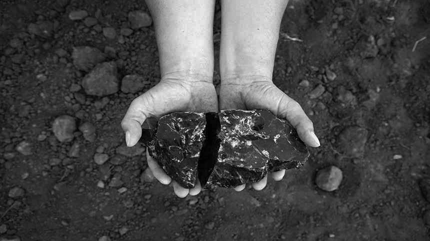 Obsidian rocks hand picked in Casa Dragones\\\' Agave estate